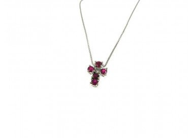 Cross Necklace with Rubies