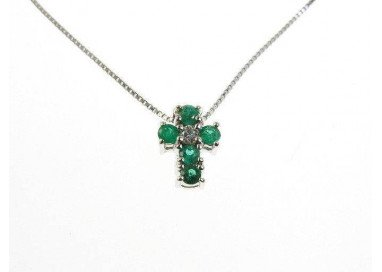 Necklace Cross Emeralds