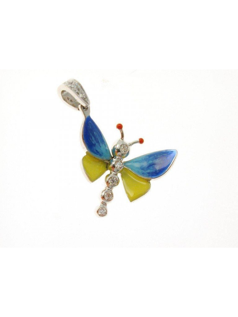 Yellow and Blue Butterfly Pendant