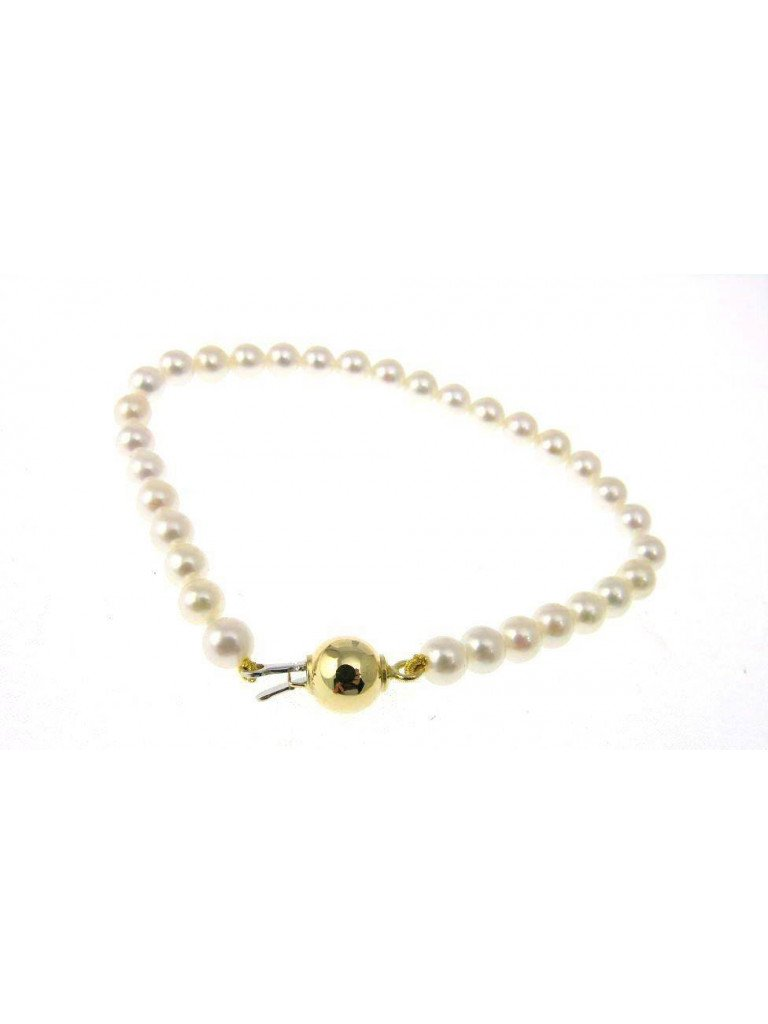 Pearls Bracelet with Yellow gold Sphere