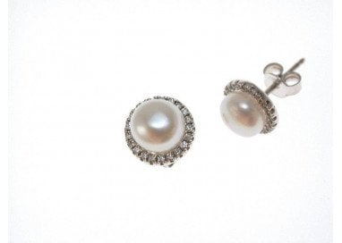 Earring Pearl and cubic zirconia