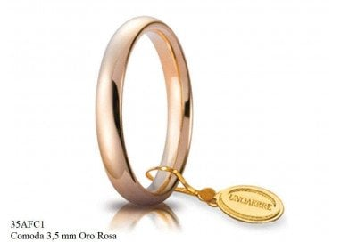 Comfortable wedding band Rose Gold 3.5mm UNOAERRE