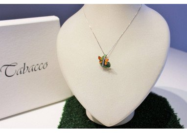 Orange Butterfly on leaf Pendant