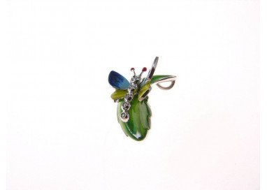 Blue and Yellow Butterfly on leaf Pendant