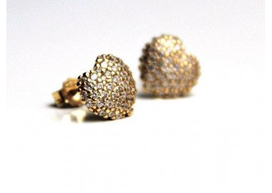 Heart shaped earrings in yellow gold with zircons