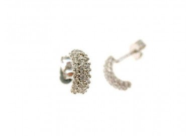 Half-hoop earrings, in white gold and 3 row of zircons