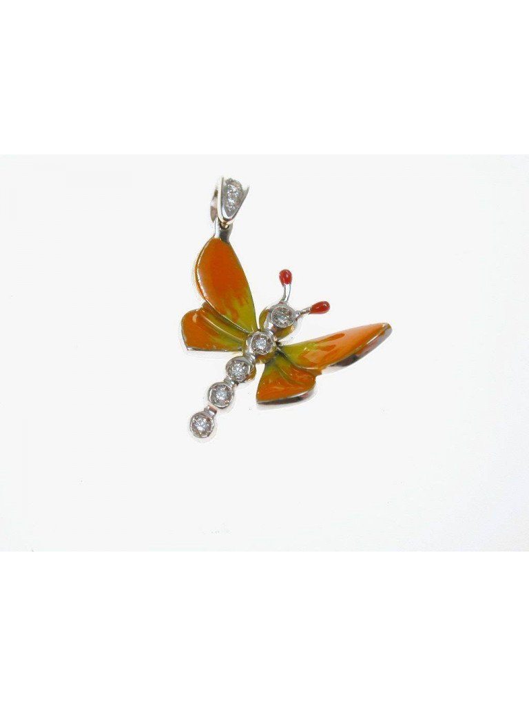 Orange Butterfly Pendant