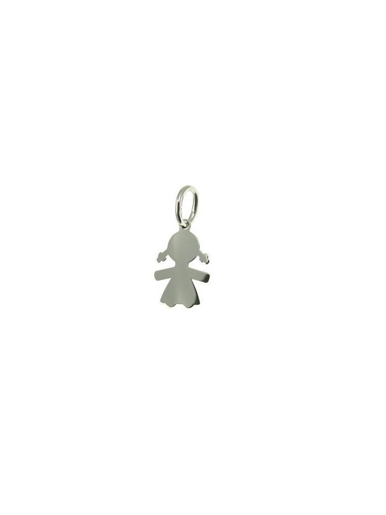 Plate Baby-Girl charm in white gold