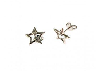 Orecchini stella forata con diamante