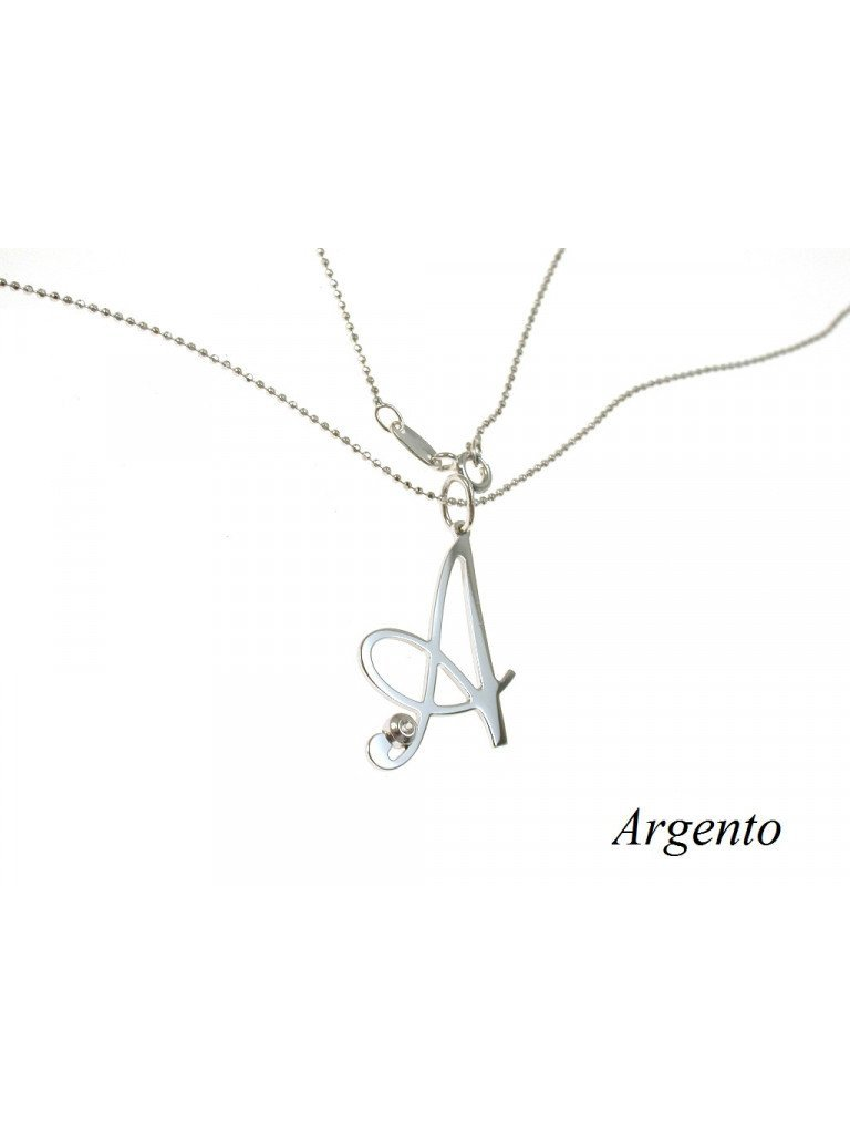 Necklace with Letter in Silver and zircon