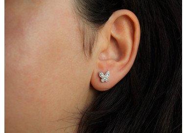 Orecchini Farfalla oro bianco e diamanti indossata