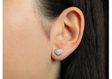 Heart Earrings in white gold and diamonds
