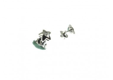 Rounded Star Earrings in white gold and diamonds