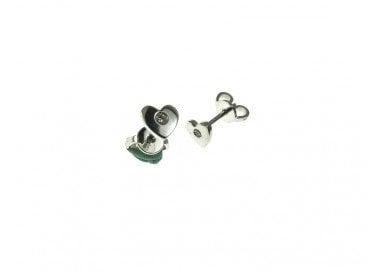 Flat Heart Earrings in white gold and diamonds