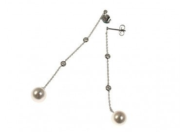 "Earrings ""Gocce di Luce"" white gold with diamonds and Pearls"
