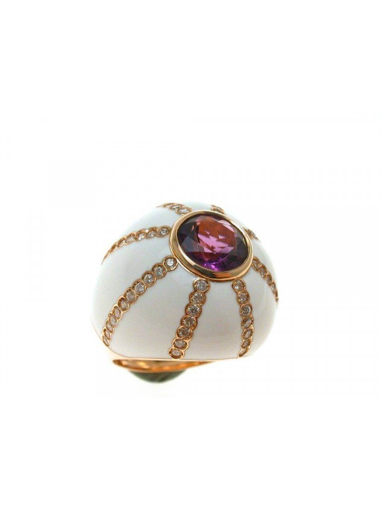 Amethyst Ring White dome