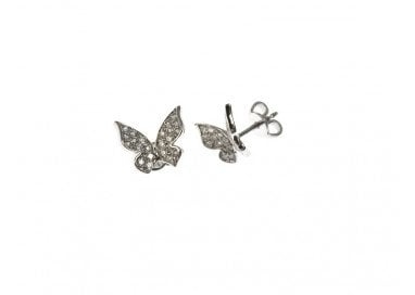 Flying Butterfly Earrings in white gold and diamonds