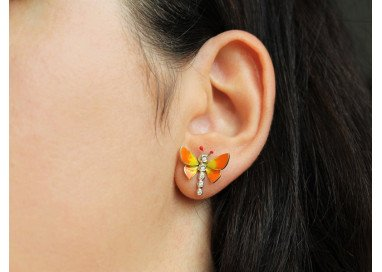 Orecchini Farfalle Arancione Indossati