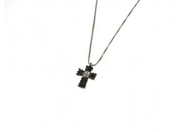 """Necklace with Black and White Diamonds Cross """"Spot"""""""