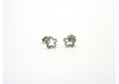 Flower Earrings in white gold and cubic zirconia