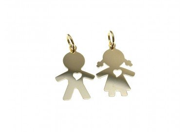 Baby with heart charm in 18kt yellow gold
