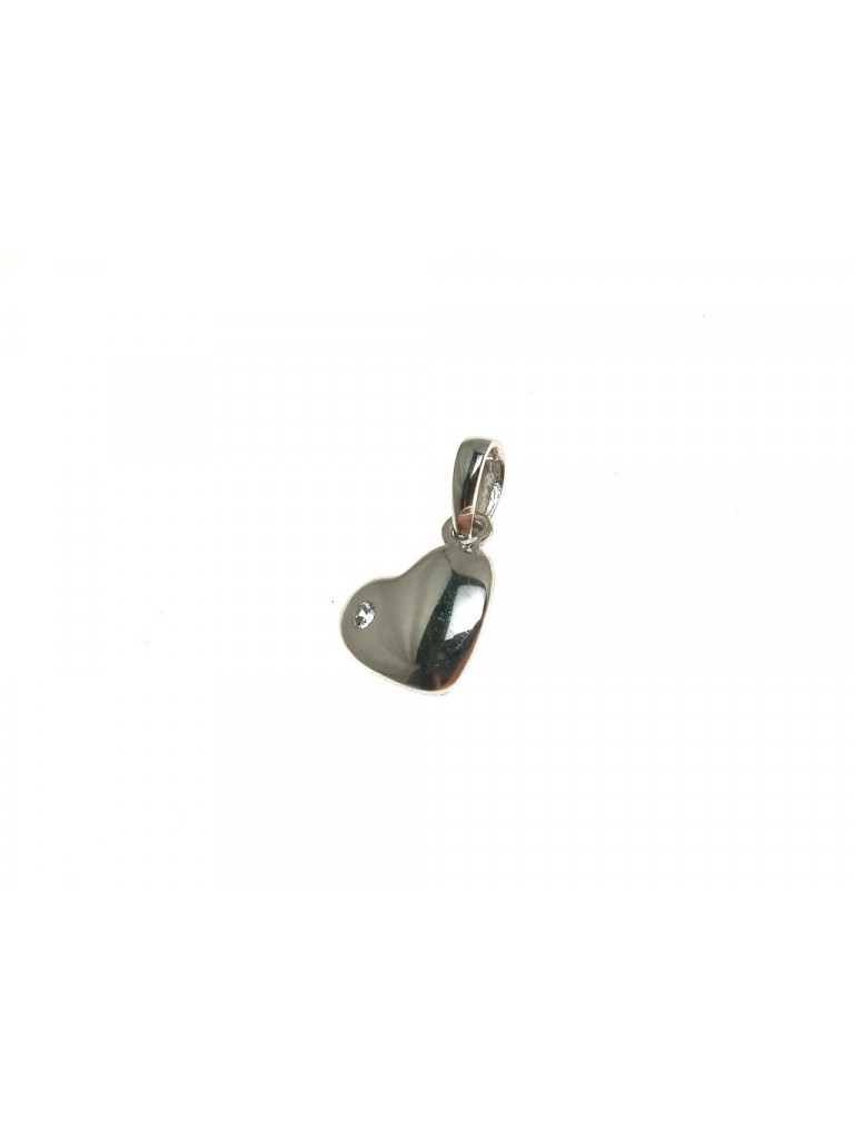 Small heart in18kt white gold with cubic zirconia