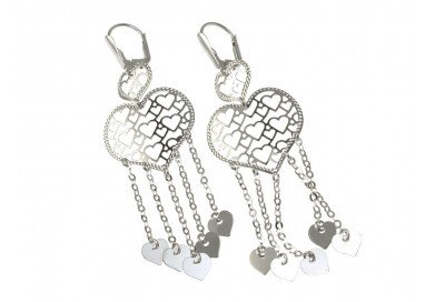 Dangle Earrings with many hearts in 18kts white gold