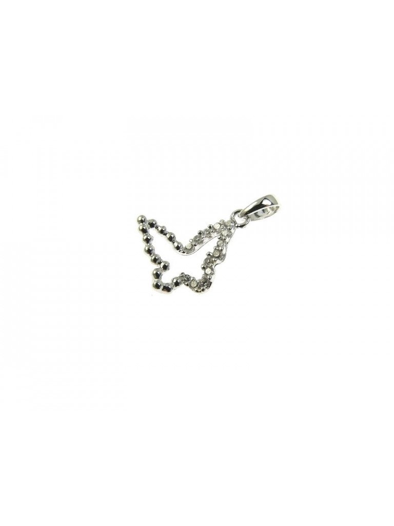 Butterfly Charm in white gold and cubic zirconia