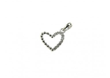 Heart Charm in white gold and cubic zirconia