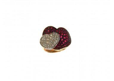 Anello Doppio Cuore con Rubini e Diamanti in Oro Rosa e Bianco 18kt