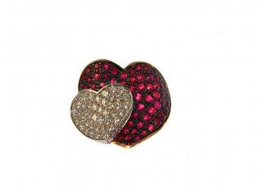 Anello Doppio Cuore con Rubini e Diamanti in Oro Rosa e Bianco 18kt dall'alto