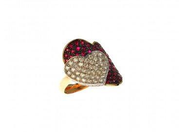 Anello Doppio Cuore con Rubini e Diamanti in Oro Rosa e Bianco 18kt lato