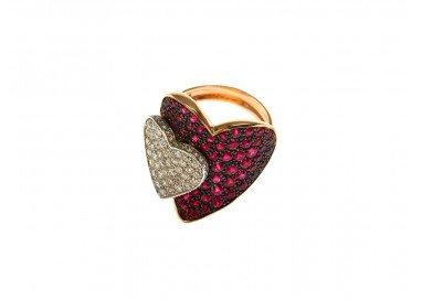 Anello Doppio Cuore con Rubini e Diamanti in Oro Rosa e Bianco 18kt lato 2