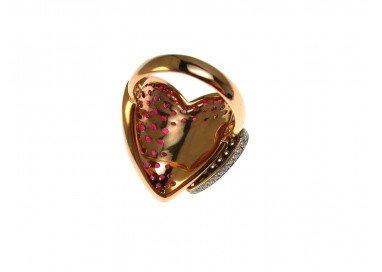 Anello Doppio Cuore con Rubini e Diamanti in Oro Rosa e Bianco 18kt retro