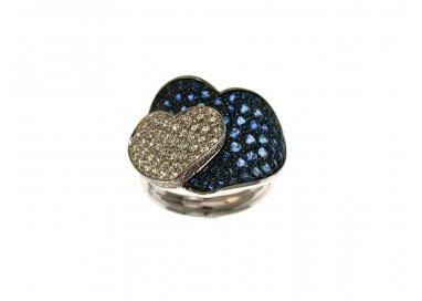 Anello Doppio Cuore con Zaffiri Blu e Diamanti in Oro Bianco 18kt