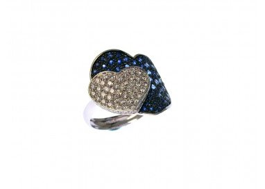 Double Heart ring with Blue Sapphires and Diamonds in White 18kt gold