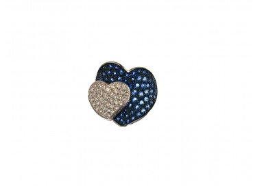Anello Doppio Cuore con Zaffiri Blu e Diamanti in Oro Bianco 18kt dall'alto