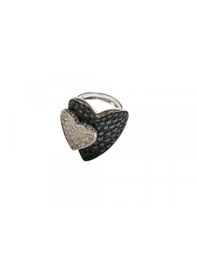 Double Heart ring with Black and White Diamonds in White 18kt gold
