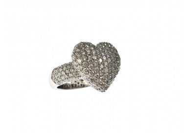 Anello Cuore Pavè con Diamanti Oro Bianco 18kt foto lato 3