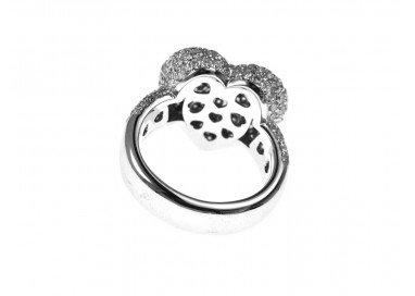 Anello Cuore Pavè con Diamanti Oro Bianco 18kt foto retro