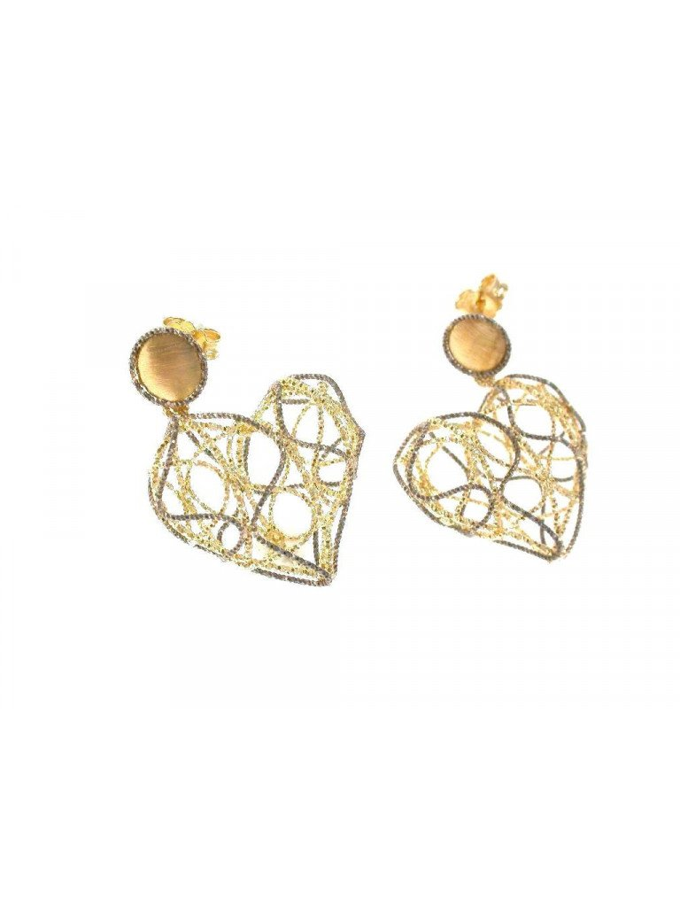 Dangle Earrings interwined heart in yellow and white 18kt gold