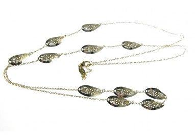 Collana lunga 80cm catena con Foglie traforate con Fiori Oro 18kt Giallo e Bianco