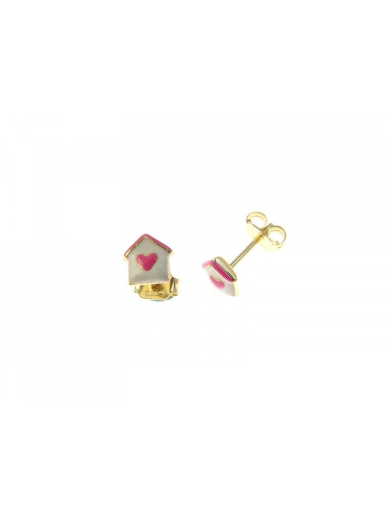 House with Heart Earrings glazed white and pink in 18kt yellow gold