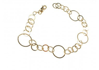 Chain Bracelet with circles 5 small and 1 big 18kts yellow gold
