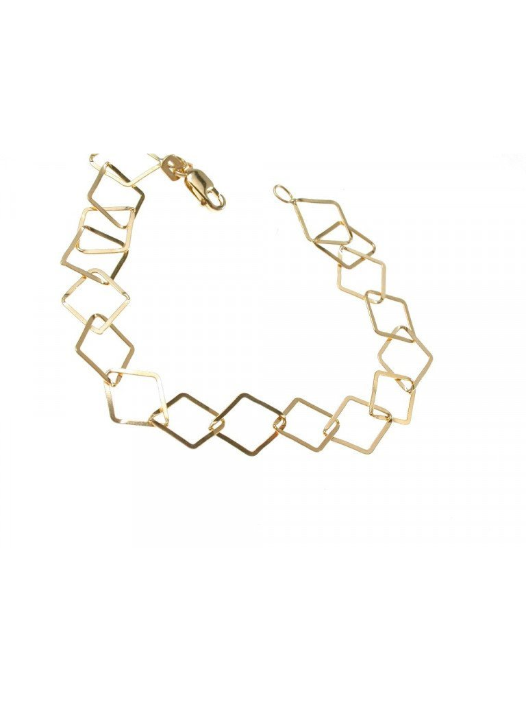 Chain Bracelet with flat Rhombus in 18kts yellow gold