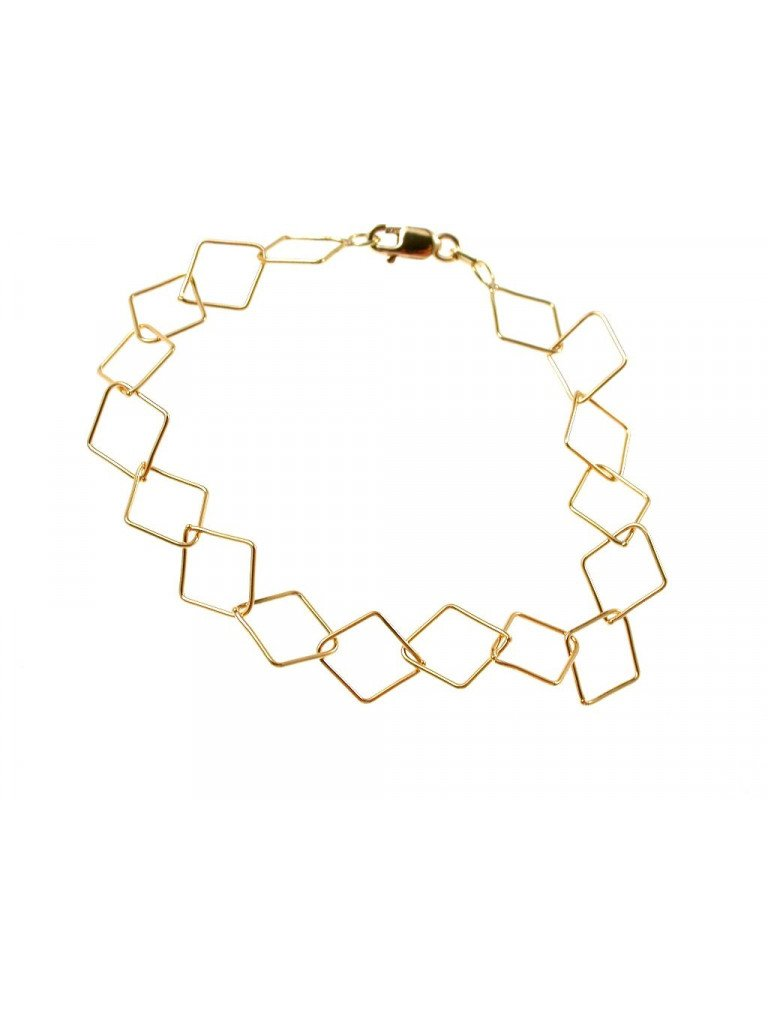 Chain Bracelet with Rhombus in 18kts yellow gold