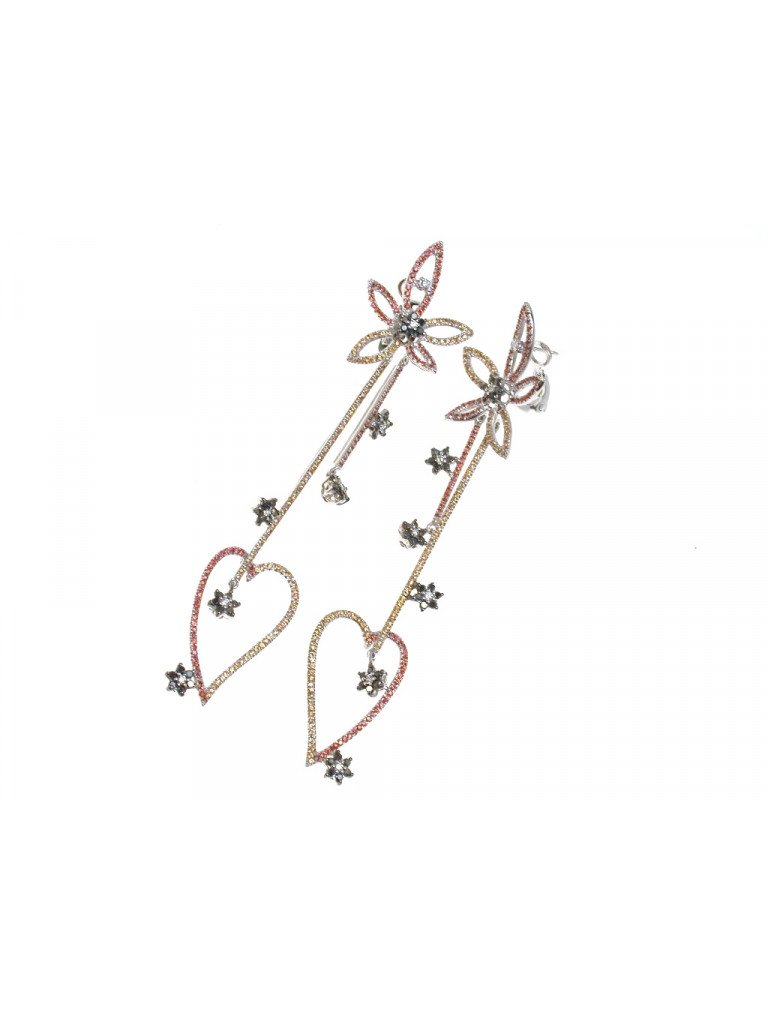 Flowers and Heart Long Earrings with Sapphire and Diamond in 18kt white gold