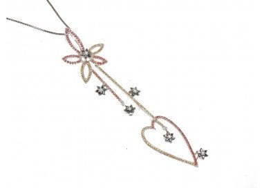 Flowers and Heart Long Charm with Sapphire and Diamond in 18kt white gold