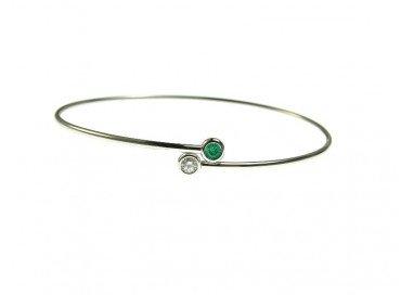 Bracciale Rigido Twin 1 diamante bianco e 1 smeraldo