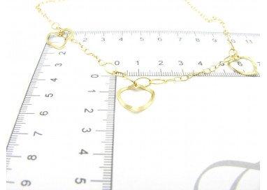 Collana 3 cuori forati oro giallo 18kt foto misura